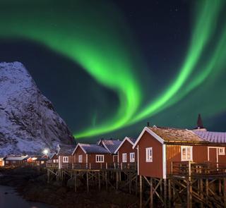Nordlicht in Reine Lofoten Norwegen